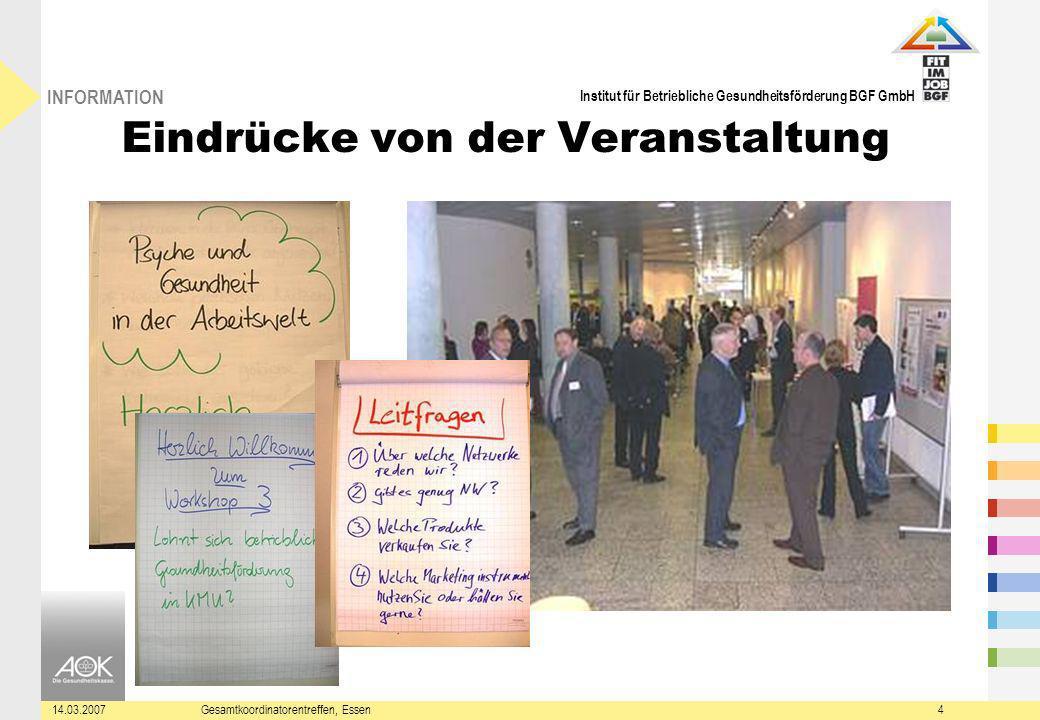 Institut für Betriebliche Gesundheitsförderung BGF GmbH INFORMATION 14.03.2007Gesamtkoordinatorentreffen, Essen4 Eindrücke von der Veranstaltung