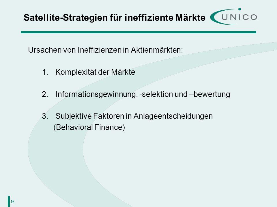 16 Satellite-Strategien für ineffiziente Märkte Ursachen von Ineffizienzen in Aktienmärkten: 1. Komplexität der Märkte 2. Informationsgewinnung, -sele