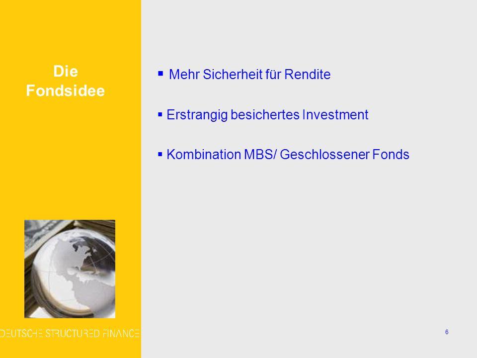 6 Mehr Sicherheit für Rendite Erstrangig besichertes Investment Kombination MBS/ Geschlossener Fonds Die Fondsidee
