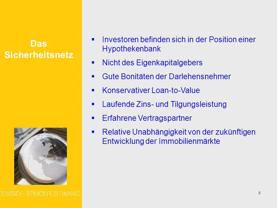 9 Das Hypotheken- portfolio Die Beteiligungsgesellschaft wird bis zu 4 Pools von US- Hypothekendarlehen erwerben Darlehensnehmerbonität Kriterien der Pools Rating