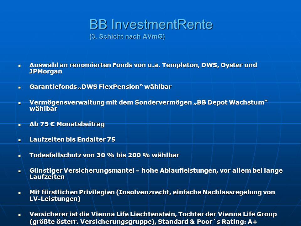 BB InvestmentRente (3. Schicht nach AVmG) Auswahl an renomierten Fonds von u.a. Templeton, DWS, Oyster und JPMorgan Auswahl an renomierten Fonds von u