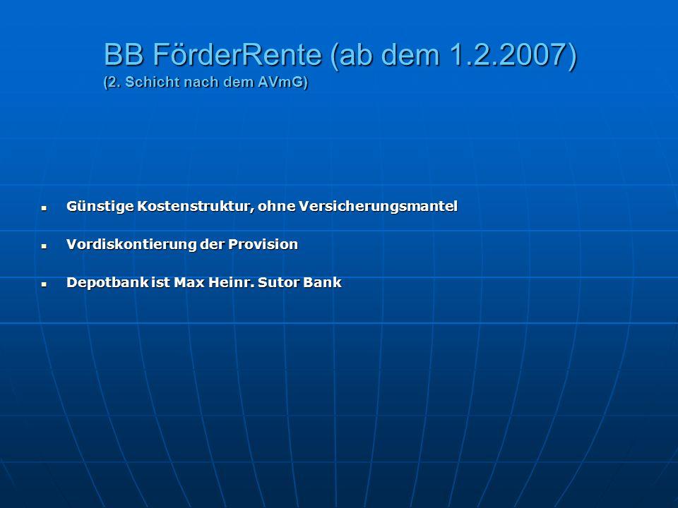 BB FörderRente (ab dem 1.2.2007) (2. Schicht nach dem AVmG) Günstige Kostenstruktur, ohne Versicherungsmantel Günstige Kostenstruktur, ohne Versicheru