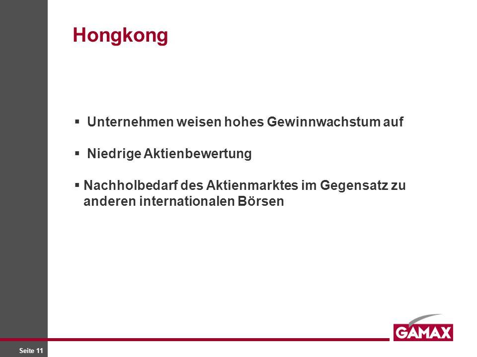 Seite 11 Unternehmen weisen hohes Gewinnwachstum auf Niedrige Aktienbewertung Nachholbedarf des Aktienmarktes im Gegensatz zu anderen internationalen Börsen Hongkong