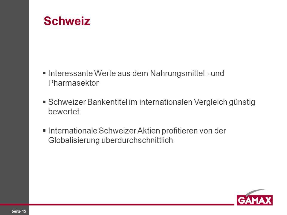 Seite 15 Interessante Werte aus dem Nahrungsmittel - und Pharmasektor Schweizer Bankentitel im internationalen Vergleich günstig bewertet Internationale Schweizer Aktien profitieren von der Globalisierung überdurchschnittlich Schweiz