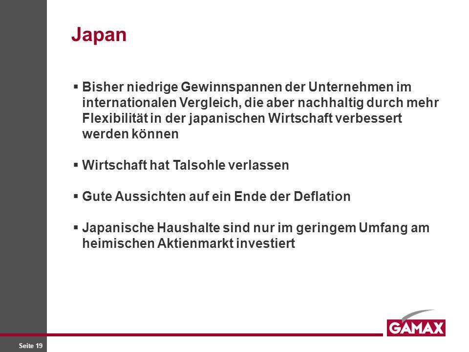 Seite 19 Bisher niedrige Gewinnspannen der Unternehmen im internationalen Vergleich, die aber nachhaltig durch mehr Flexibilität in der japanischen Wirtschaft verbessert werden können Wirtschaft hat Talsohle verlassen Gute Aussichten auf ein Ende der Deflation Japanische Haushalte sind nur im geringem Umfang am heimischen Aktienmarkt investiert Japan