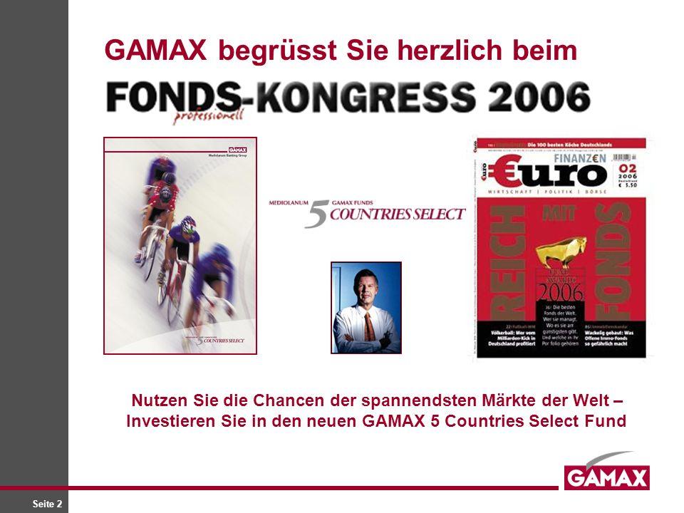 Seite 2 GAMAX begrüsst Sie herzlich beim Nutzen Sie die Chancen der spannendsten Märkte der Welt – Investieren Sie in den neuen GAMAX 5 Countries Sele