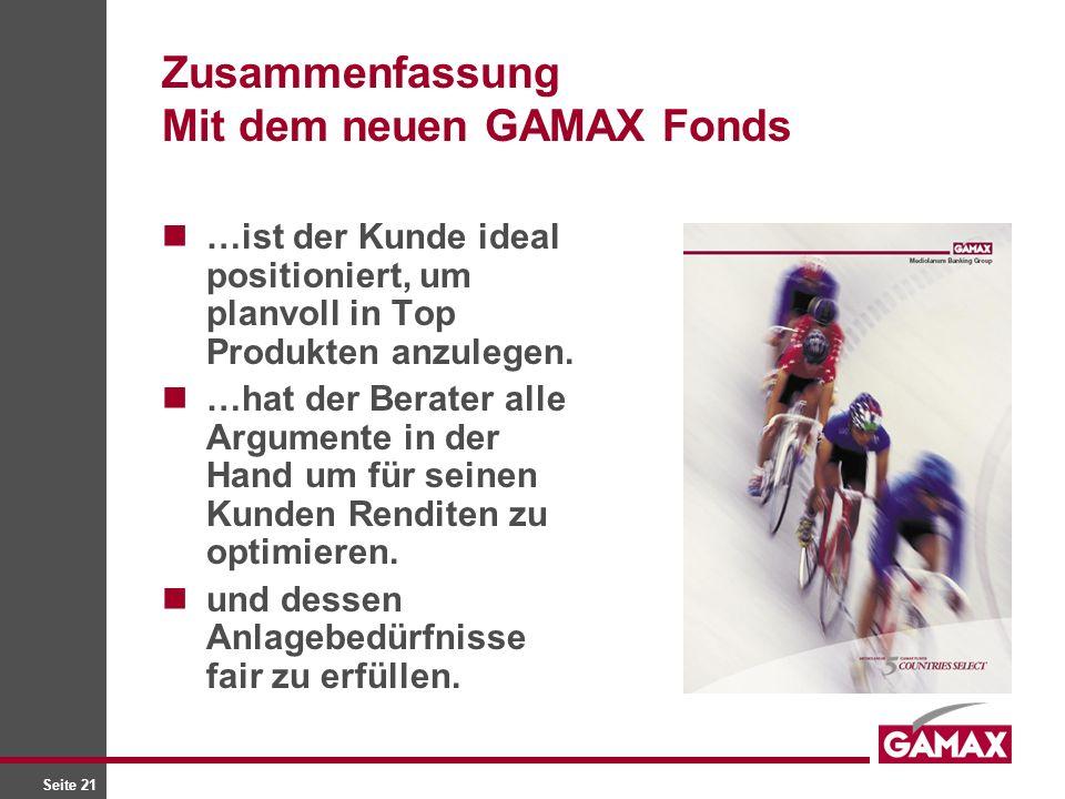 Seite 21 Zusammenfassung Mit dem neuen GAMAX Fonds …ist der Kunde ideal positioniert, um planvoll in Top Produkten anzulegen.