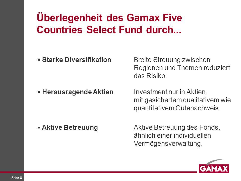 Seite 8 Starke DiversifikationBreite Streuung zwischen Regionen und Themen reduziert das Risiko. Herausragende AktienInvestment nur in Aktien mit gesi