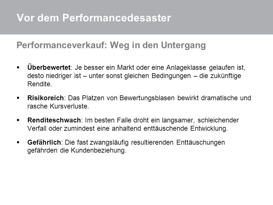Vor dem Performancedesaster Performanceverkauf: Weg in den Untergang Überbewertet: Je besser ein Markt oder eine Anlageklasse gelaufen ist, desto nied
