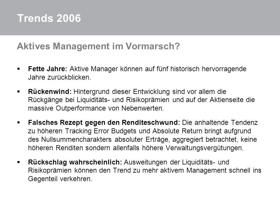 Trends 2006 Aktives Management im Vormarsch? Fette Jahre: Aktive Manager können auf fünf historisch hervorragende Jahre zurückblicken. Rückenwind: Hin