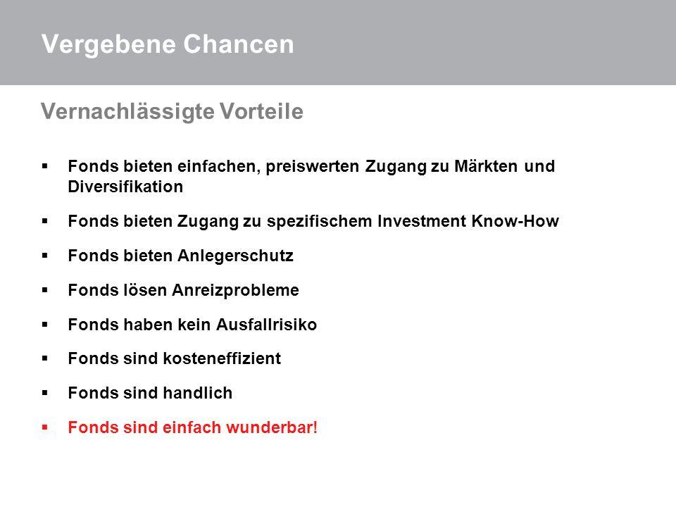 Vergebene Chancen Fehler der Vergangenheit Fonds = Aktienfonds.
