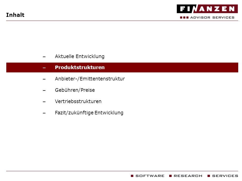 Inhalt – Aktuelle Entwicklung – Produktstrukturen – Anbieter-/Emittentenstruktur – Gebühren/Preise – Vertriebsstrukturen – Fazit/zukünftige Entwicklun