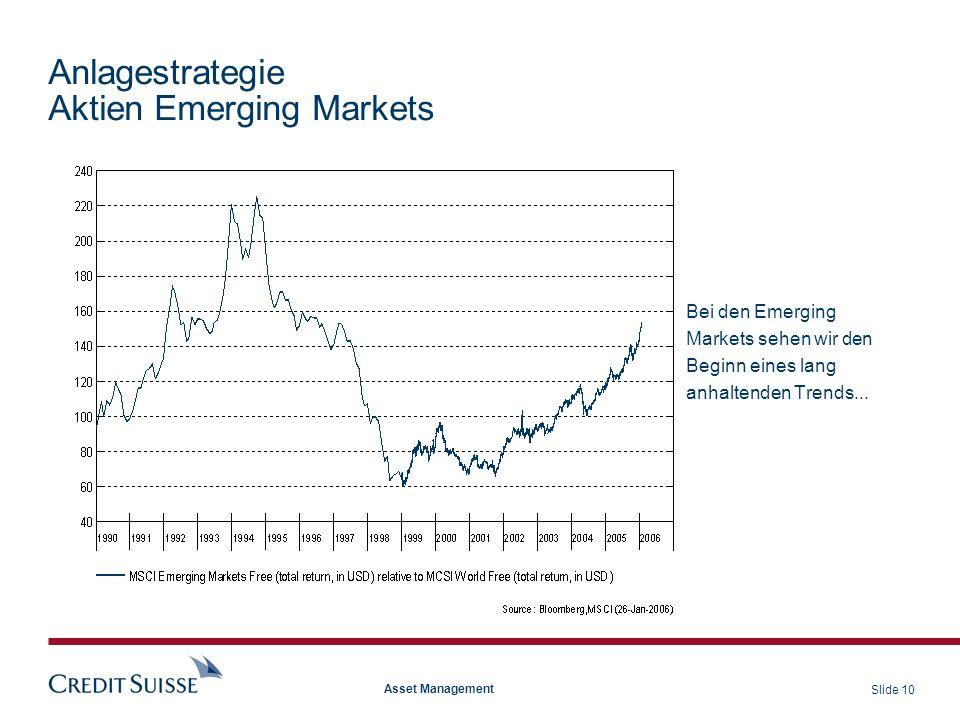 Slide 10 Asset Management Anlagestrategie Aktien Emerging Markets Bei den Emerging Markets sehen wir den Beginn eines lang anhaltenden Trends...