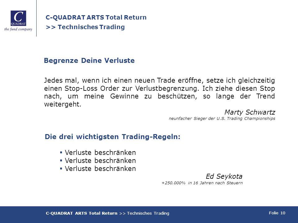 Folie 10 C-QUADRAT ARTS Total Return >> Technisches Trading Begrenze Deine Verluste Jedes mal, wenn ich einen neuen Trade eröffne, setze ich gleichzeitig einen Stop-Loss Order zur Verlustbegrenzung.