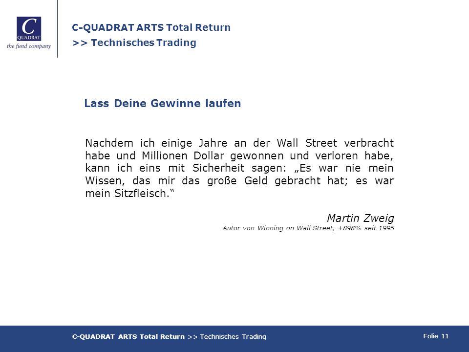 Folie 11 C-QUADRAT ARTS Total Return >> Technisches Trading Nachdem ich einige Jahre an der Wall Street verbracht habe und Millionen Dollar gewonnen u