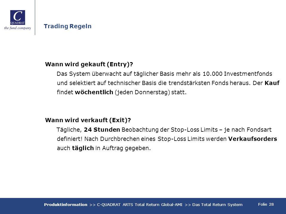 Folie 28 Trading Regeln Wann wird gekauft (Entry)? Das System überwacht auf täglicher Basis mehr als 10.000 Investmentfonds und selektiert auf technis