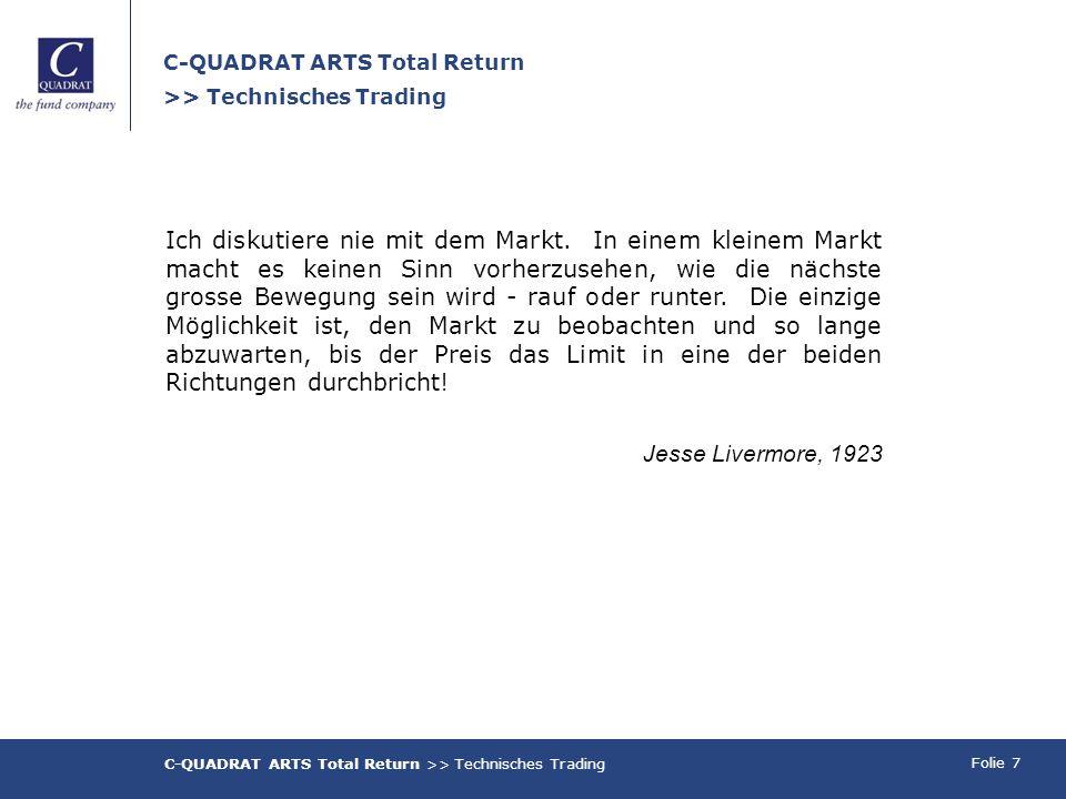 Folie 7 C-QUADRAT ARTS Total Return >> Technisches Trading Ich diskutiere nie mit dem Markt.