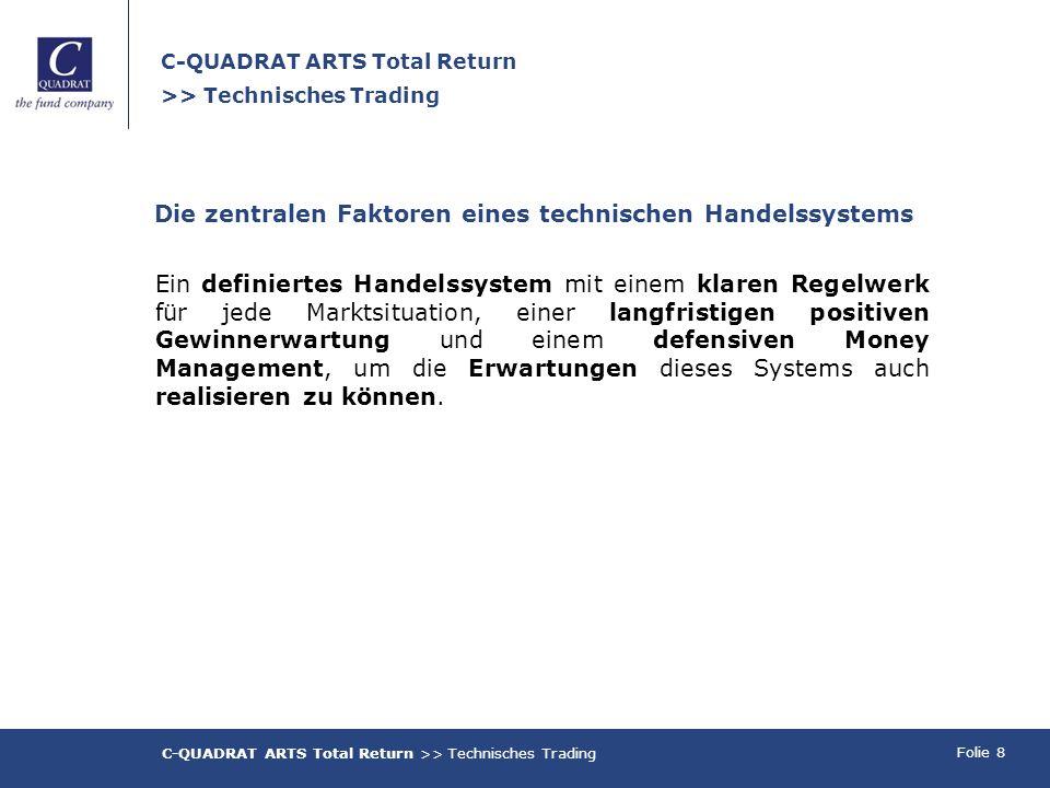 Folie 8 C-QUADRAT ARTS Total Return >> Technisches Trading Die zentralen Faktoren eines technischen Handelssystems Ein definiertes Handelssystem mit e