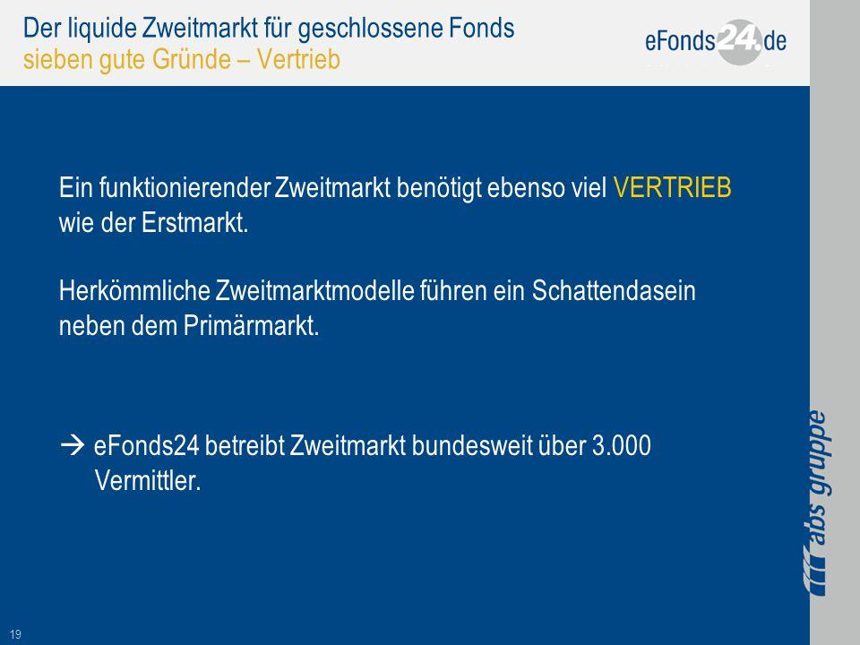 19 Der liquide Zweitmarkt für geschlossene Fonds sieben gute Gründe – Vertrieb Ein funktionierender Zweitmarkt benötigt ebenso viel VERTRIEB wie der E