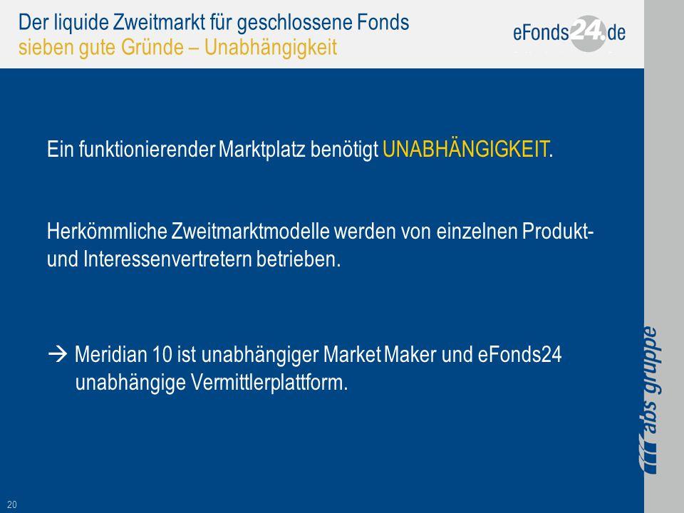 20 Der liquide Zweitmarkt für geschlossene Fonds sieben gute Gründe – Unabhängigkeit Ein funktionierender Marktplatz benötigt UNABHÄNGIGKEIT. Herkömml