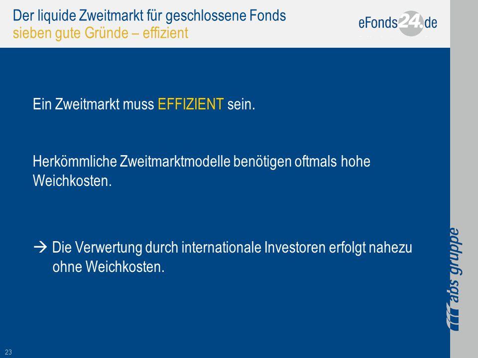 23 Der liquide Zweitmarkt für geschlossene Fonds sieben gute Gründe – effizient Ein Zweitmarkt muss EFFIZIENT sein. Herkömmliche Zweitmarktmodelle ben