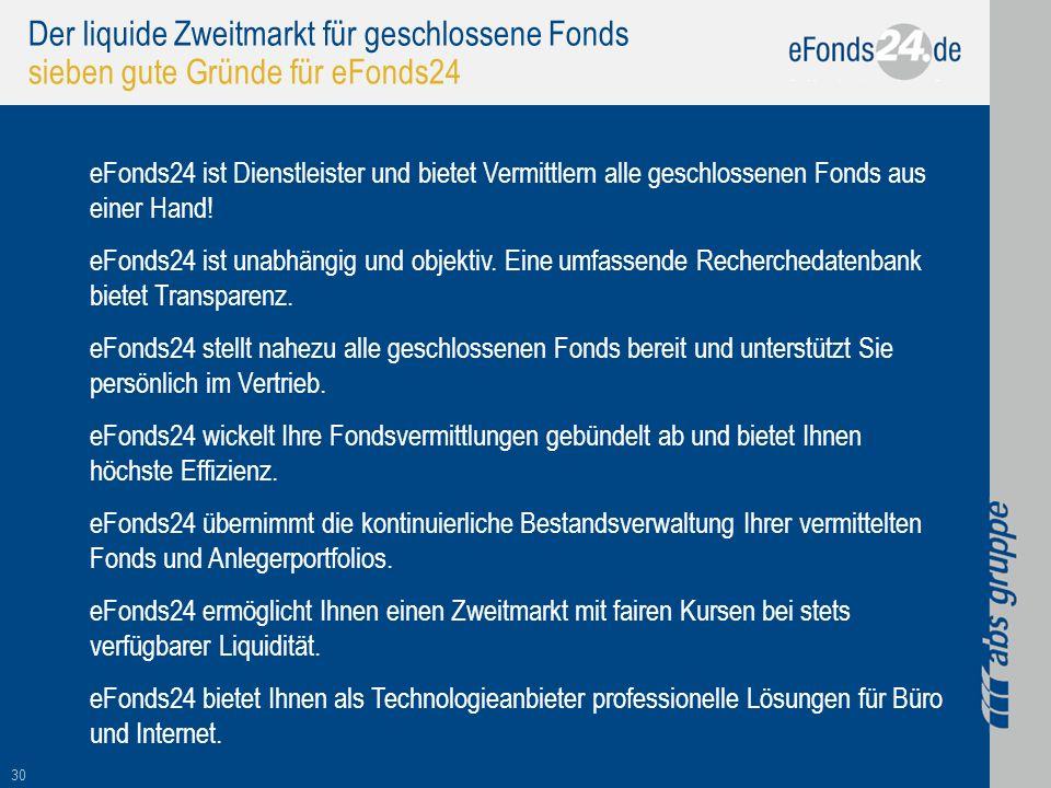 30 Der liquide Zweitmarkt für geschlossene Fonds sieben gute Gründe für eFonds24 eFonds24 ist Dienstleister und bietet Vermittlern alle geschlossenen