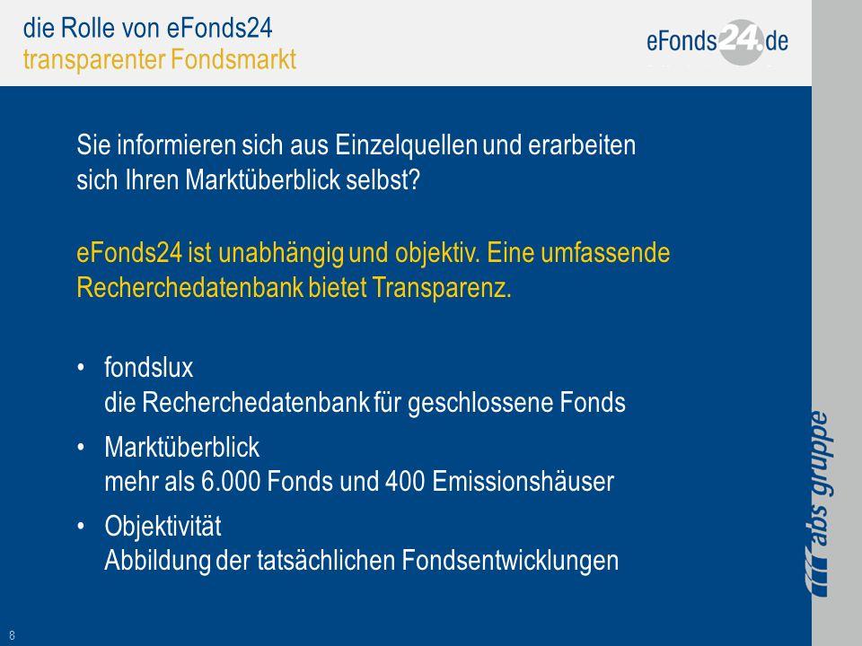 8 die Rolle von eFonds24 transparenter Fondsmarkt Sie informieren sich aus Einzelquellen und erarbeiten sich Ihren Marktüberblick selbst? eFonds24 ist