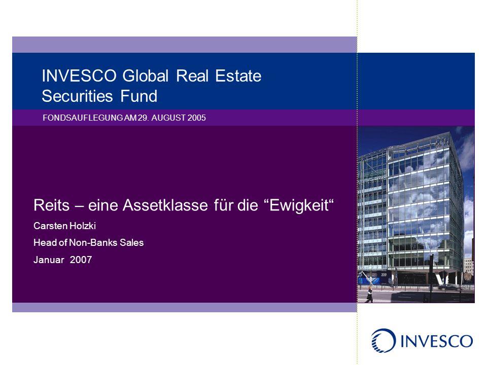 INVESCO Global Real Estate Securities Fund FONDSAUFLEGUNG AM 29. AUGUST 2005 Reits – eine Assetklasse für die Ewigkeit Carsten Holzki Head of Non-Bank