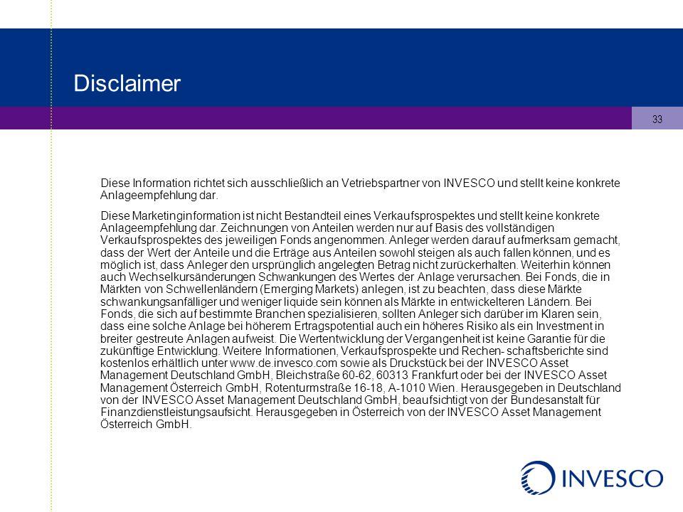 33 Disclaimer Diese Information richtet sich ausschließlich an Vetriebspartner von INVESCO und stellt keine konkrete Anlageempfehlung dar.