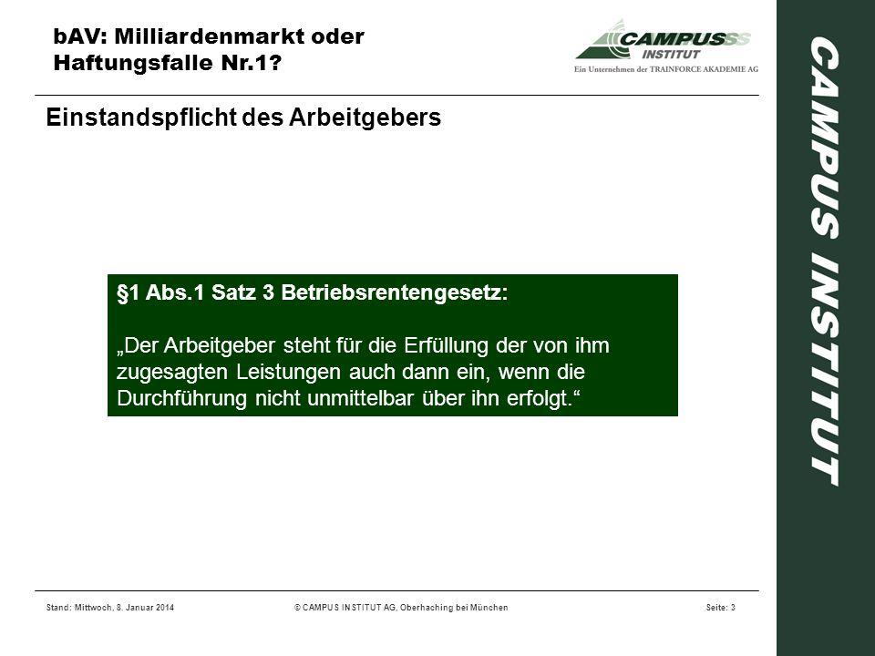 bAV: Milliardenmarkt oder Haftungsfalle Nr.1? Stand: Mittwoch, 8. Januar 2014© CAMPUS INSTITUT AG, Oberhaching bei MünchenSeite: 3 Einstandspflicht de
