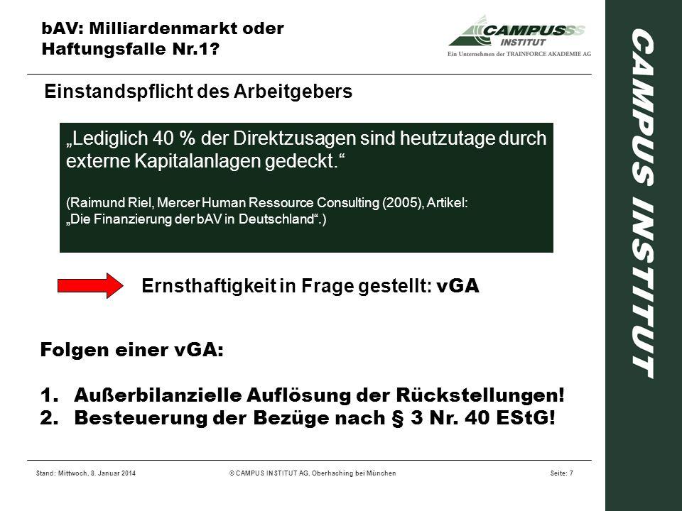 bAV: Milliardenmarkt oder Haftungsfalle Nr.1? Stand: Mittwoch, 8. Januar 2014© CAMPUS INSTITUT AG, Oberhaching bei MünchenSeite: 7 Einstandspflicht de