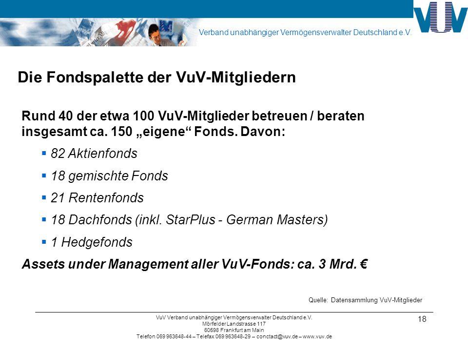 Verband unabhängiger Vermögensverwalter Deutschland e.V. VuV Verband unabhängiger Vermögensverwalter Deutschland e.V. Mörfelder Landstrasse 117 60598