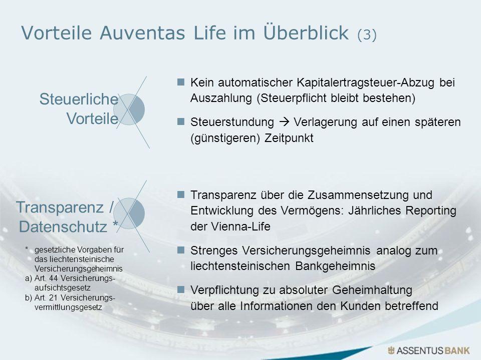 Vorteile Auventas Life im Überblick (3) *gesetzliche Vorgaben für das liechtensteinische Versicherungsgeheimnis a)Art. 44 Versicherungs- aufsichtsgese