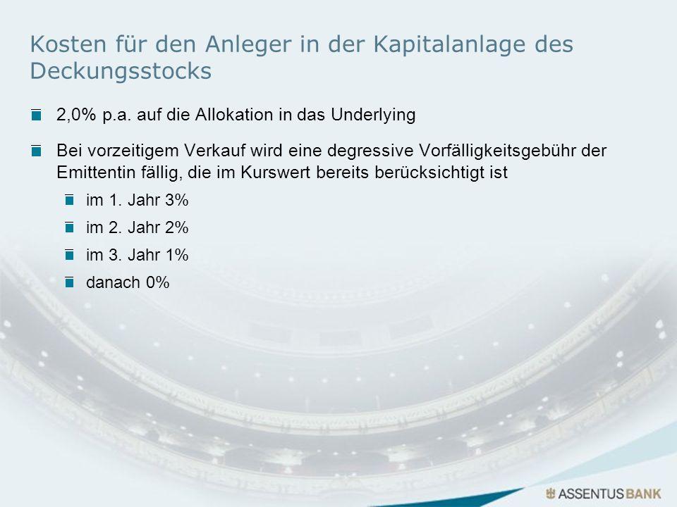 Kosten für den Anleger in der Kapitalanlage des Deckungsstocks 2,0% p.a. auf die Allokation in das Underlying Bei vorzeitigem Verkauf wird eine degres