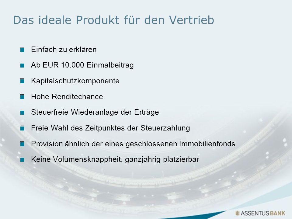 Das ideale Produkt für den Vertrieb Einfach zu erklären Ab EUR 10.000 Einmalbeitrag Kapitalschutzkomponente Hohe Renditechance Steuerfreie Wiederanlag