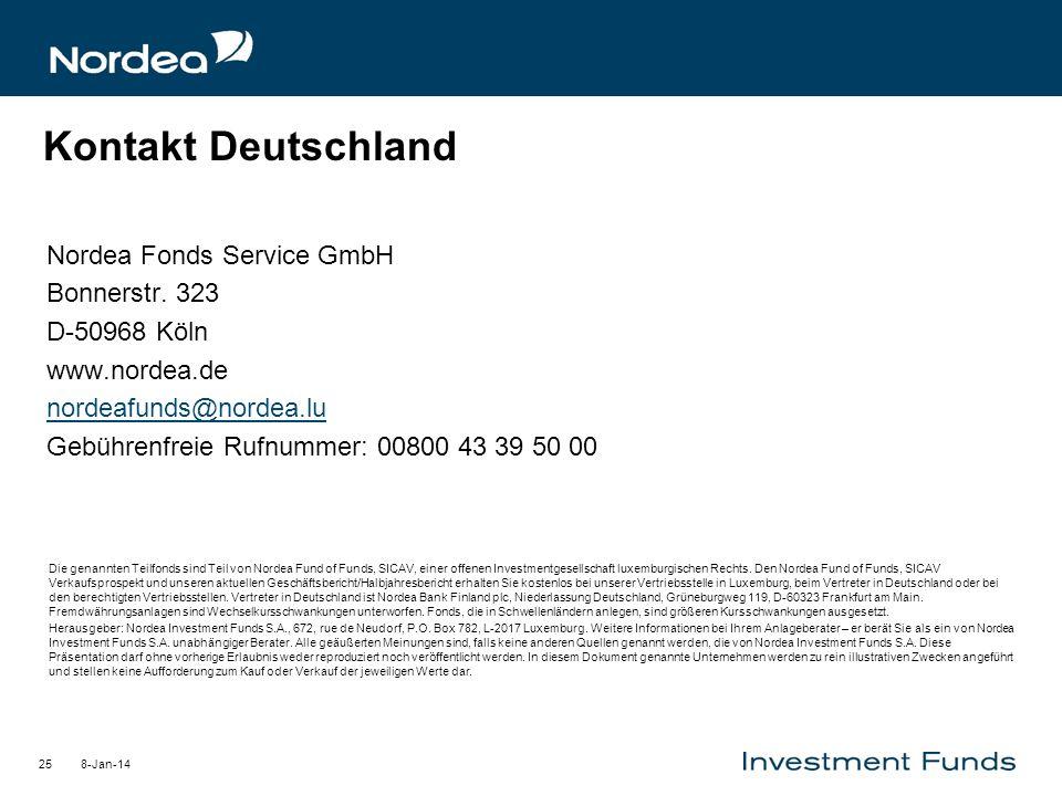 8-Jan-1425 Kontakt Deutschland Nordea Fonds Service GmbH Bonnerstr. 323 D-50968 Köln www.nordea.de nordeafunds@nordea.lu Gebührenfreie Rufnummer: 0080