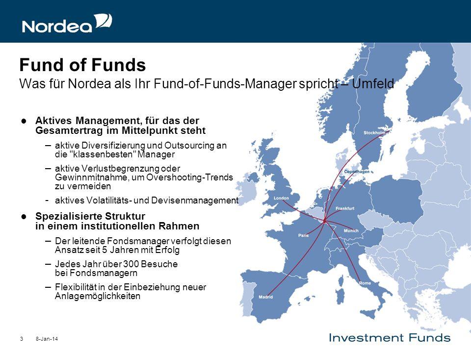 8-Jan-143 Fund of Funds Was für Nordea als Ihr Fund-of-Funds-Manager spricht – Umfeld Aktives Management, für das der Gesamtertrag im Mittelpunkt steh