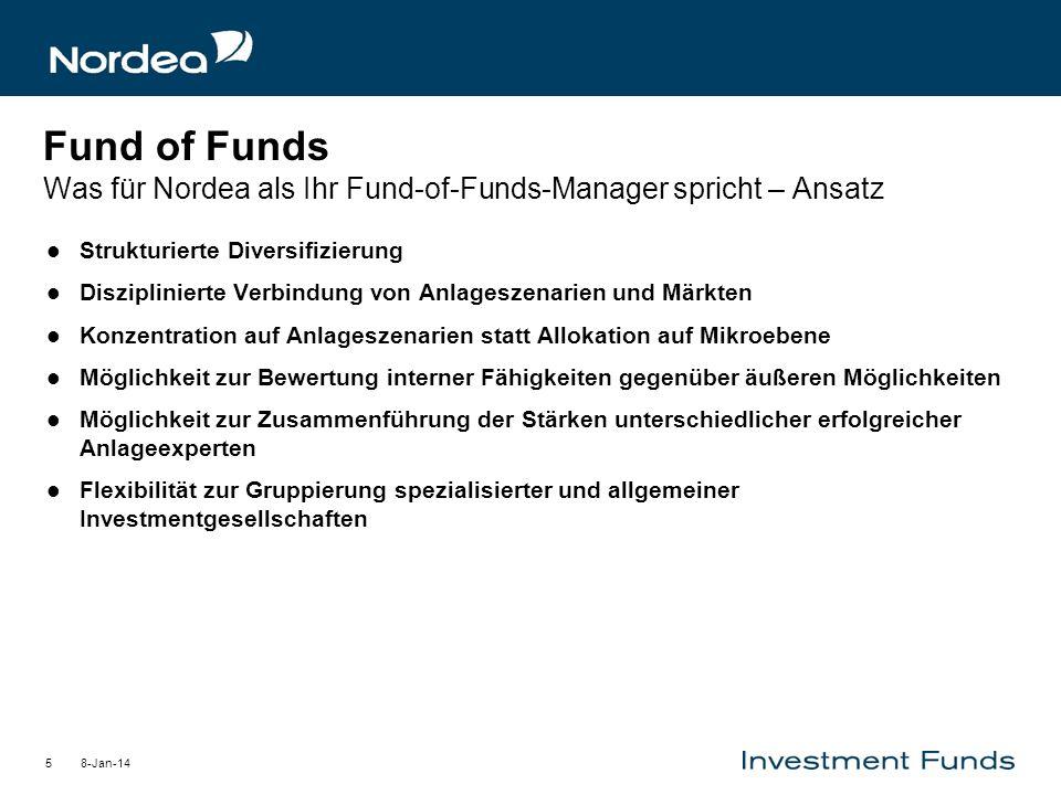 8-Jan-145 Fund of Funds Was für Nordea als Ihr Fund-of-Funds-Manager spricht – Ansatz Strukturierte Diversifizierung Disziplinierte Verbindung von Anl