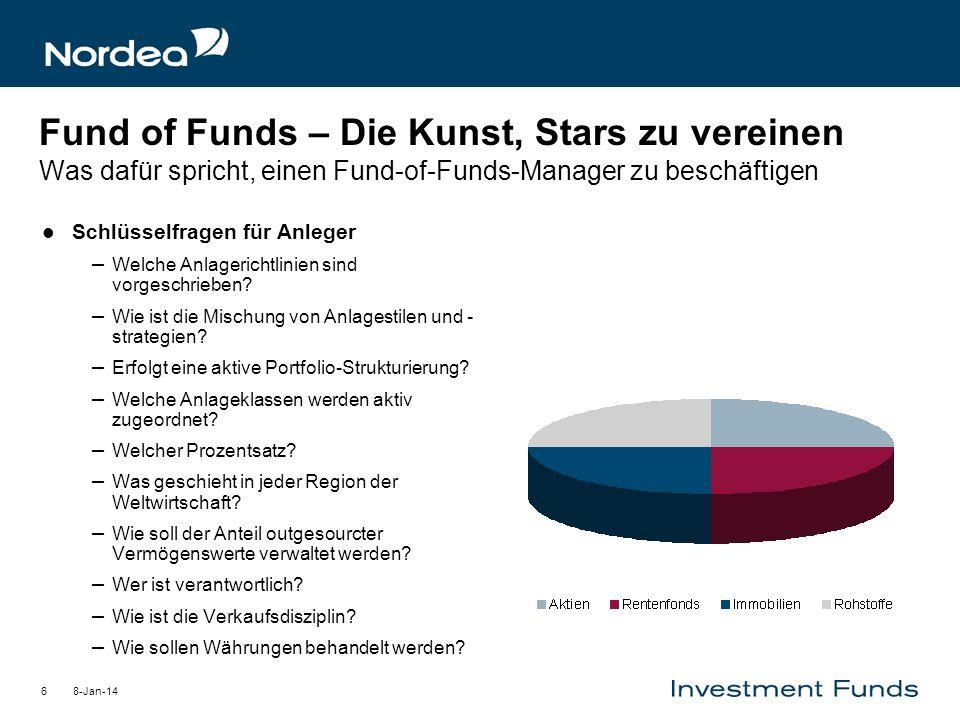 8-Jan-146 Fund of Funds – Die Kunst, Stars zu vereinen Was dafür spricht, einen Fund-of-Funds-Manager zu beschäftigen Schlüsselfragen für Anleger – We