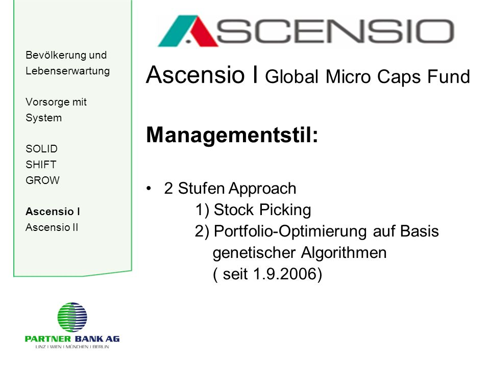Bevölkerung und Lebenserwartung Vorsorge mit System SOLID SHIFT GROW Ascensio I Ascensio II Ascensio I Global Micro Caps Fund Managementstil: 2 Stufen Approach 1) Stock Picking 2) Portfolio-Optimierung auf Basis genetischer Algorithmen ( seit 1.9.2006)