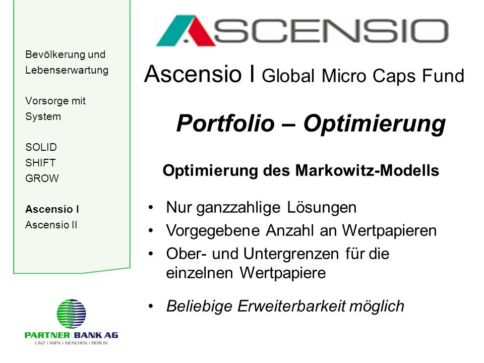 Bevölkerung und Lebenserwartung Vorsorge mit System SOLID SHIFT GROW Ascensio I Ascensio II Ascensio I Global Micro Caps Fund Portfolio – Optimierung
