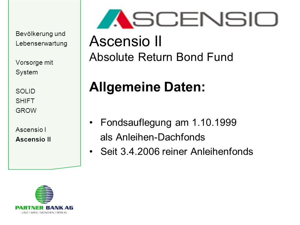 Bevölkerung und Lebenserwartung Vorsorge mit System SOLID SHIFT GROW Ascensio I Ascensio II Ascensio II Absolute Return Bond Fund Allgemeine Daten: Fo