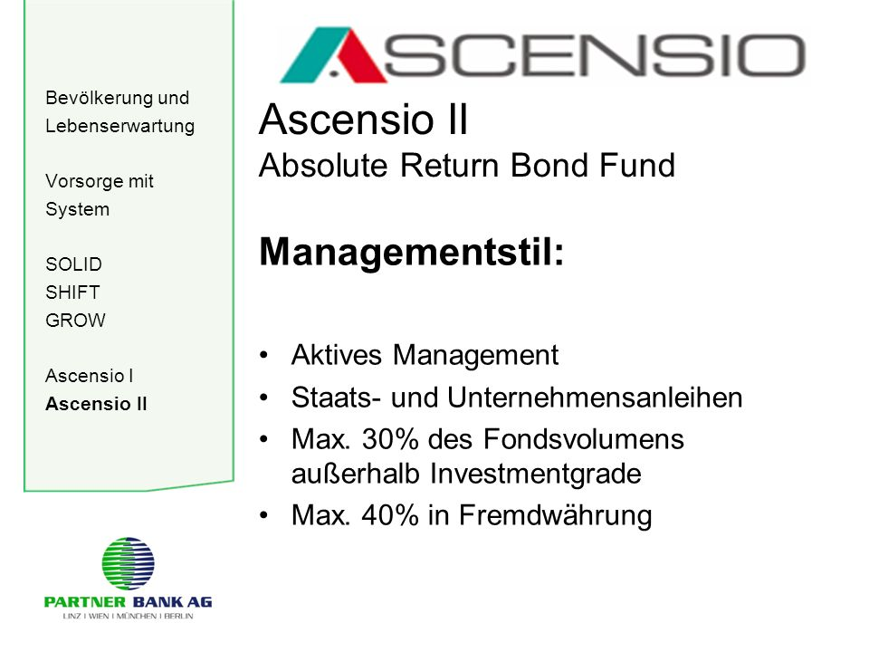 Bevölkerung und Lebenserwartung Vorsorge mit System SOLID SHIFT GROW Ascensio I Ascensio II Ascensio II Absolute Return Bond Fund Managementstil: Aktives Management Staats- und Unternehmensanleihen Max.