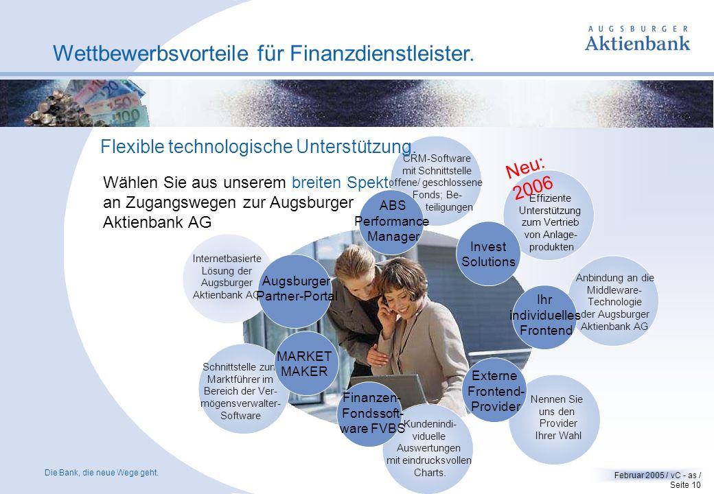 Die Bank, die neue Wege geht. Februar 2005 / vC - as / Seite 9 Wettbewerbsvorteile für Finanzdienstleister. Flexibilität und Innovationskraft. Lebens-