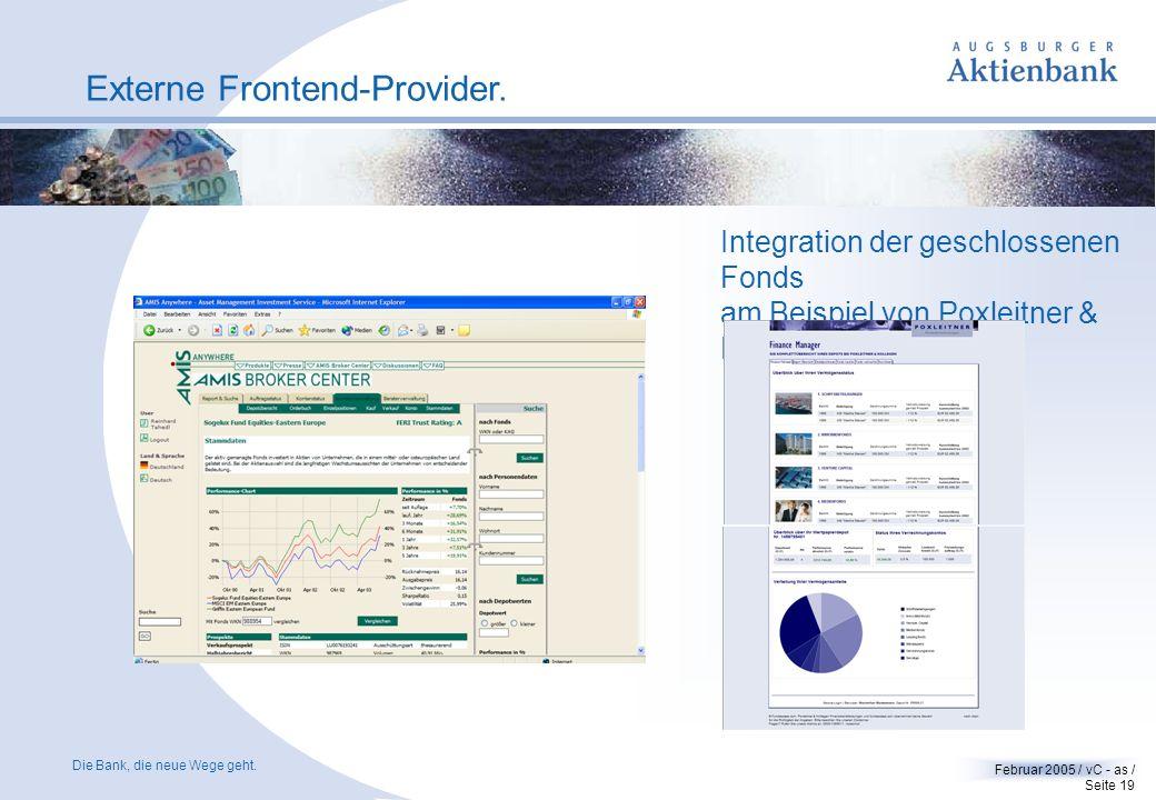 Die Bank, die neue Wege geht. Februar 2005 / vC - as / Seite 18 FINANZEN Fonds-Software FVBS. Mit der FINANZEN Fonds-Software FBVS können Sie Chancen