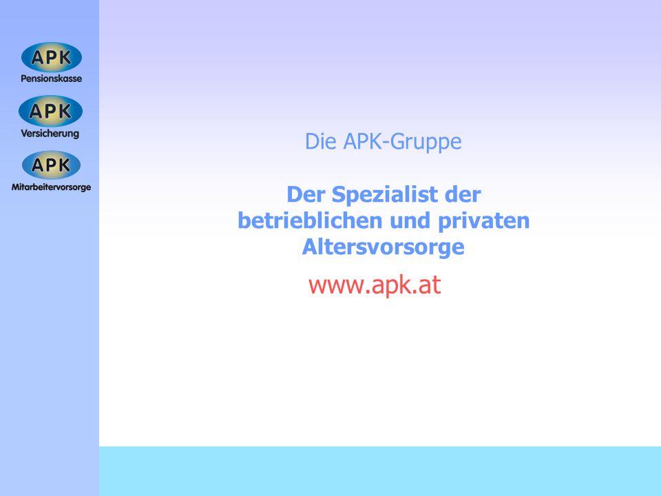 Die APK-Gruppe Der Spezialist der betrieblichen und privaten Altersvorsorge www.apk.at