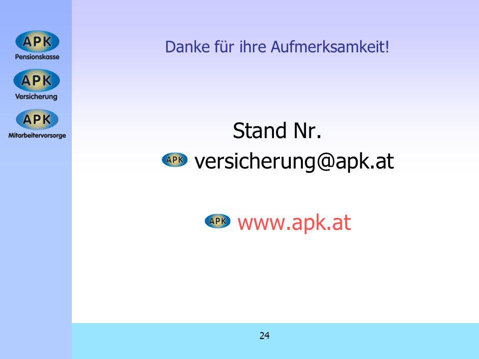 24 Danke für ihre Aufmerksamkeit! Stand Nr. versicherung@apk.at www.apk.at