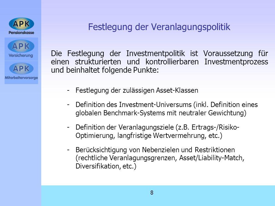 8 Festlegung der Veranlagungspolitik Die Festlegung der Investmentpolitik ist Voraussetzung für einen strukturierten und kontrollierbaren Investmentpr