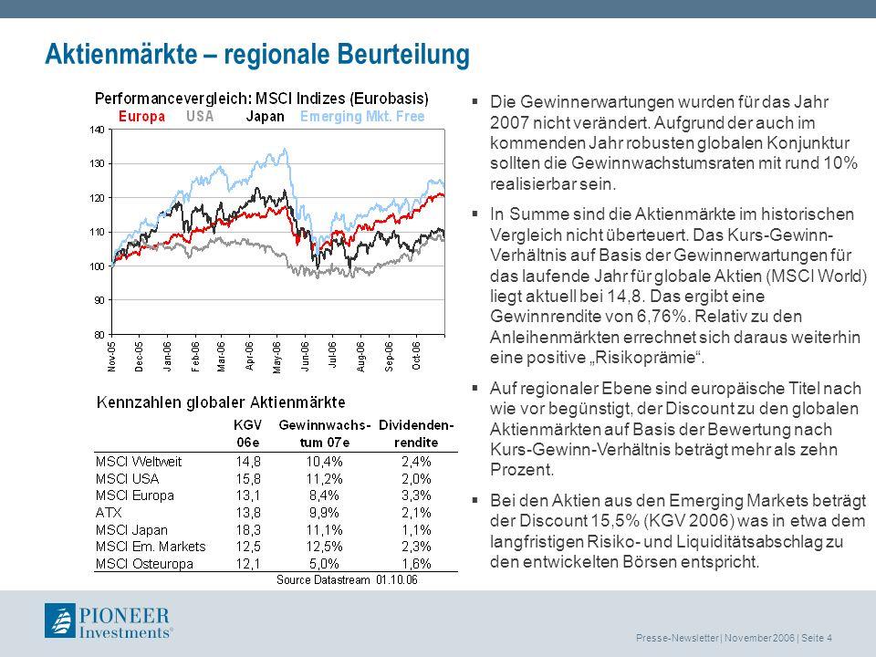 Presse-Newsletter | November 2006 | Seite 4 Aktienmärkte – regionale Beurteilung Die Gewinnerwartungen wurden für das Jahr 2007 nicht verändert.