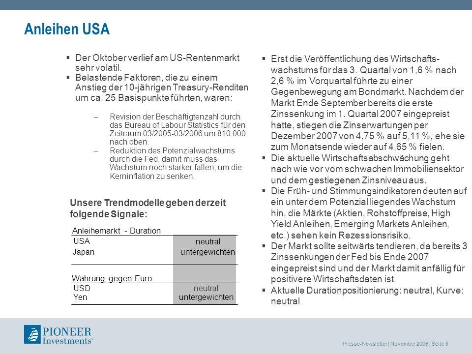 Presse-Newsletter | November 2006 | Seite 9 Pioneer Investments Austria Gesamtredaktion: Mag.
